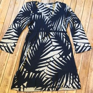 Tommy Bahama Dress Navy Palm Leaf Cotton Small